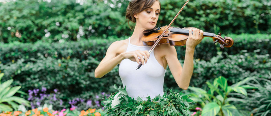 violinist in flower skirt
