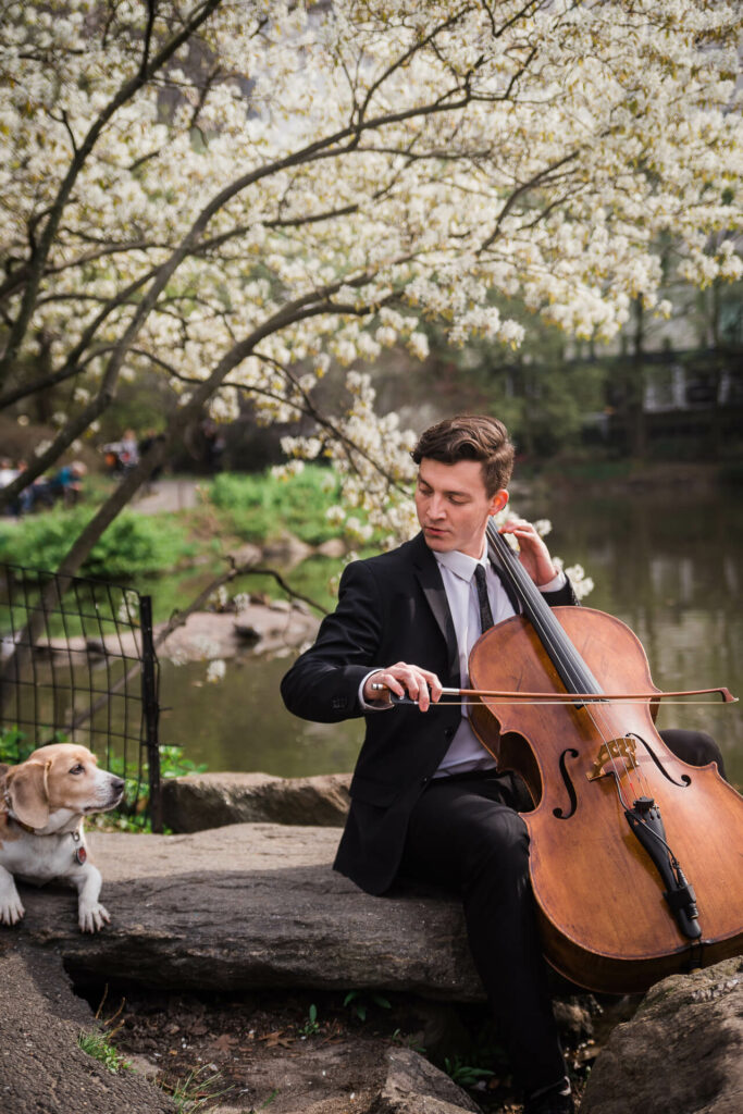 Cellist Samuel with beagle in Central Park - Kiral Artists freire photo