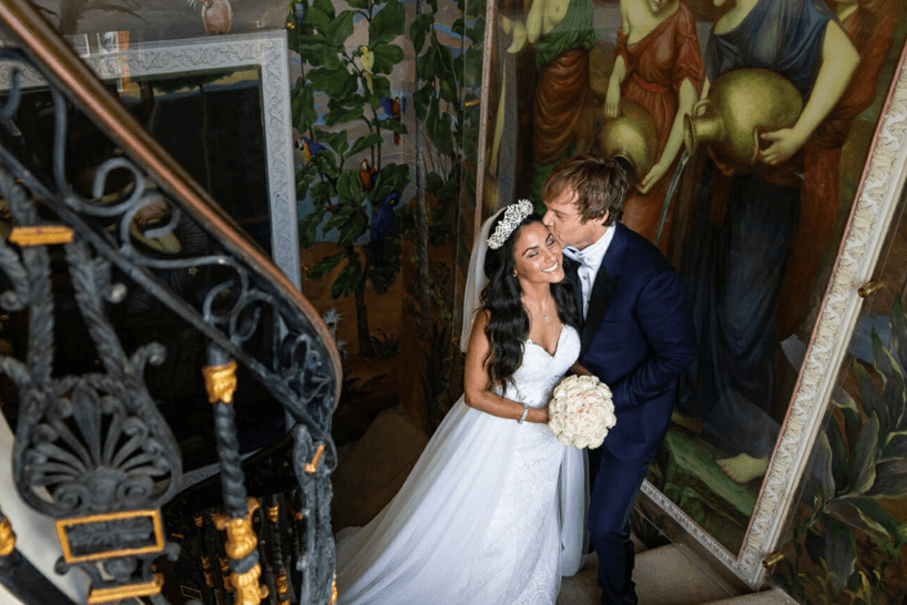 Bride & Groom at Versace Mansion Miami photo by Jan Freire